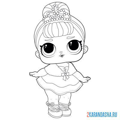 Print a coloring book doll lol queen crystal (crystal queen) on A4