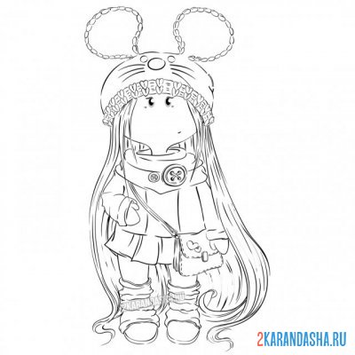 Print a coloring book textile doll with long hair on A4
