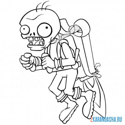 Print a coloring book flying zombie soccer player with a gift, part 2 on A4