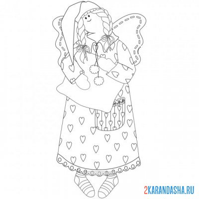 Print a coloring book rag doll in a nightgown on A4