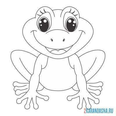 Print a coloring book smiling frog on A4