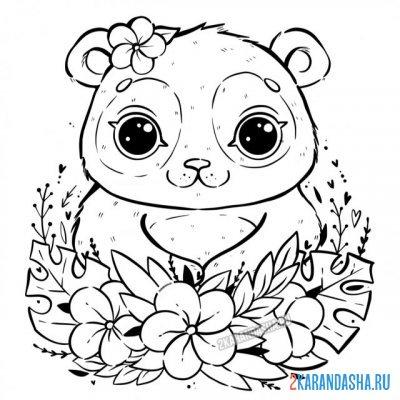 Raskraska Milyj Mishka Panda V Cvetah Dlya Detej Raspechatat Cvety