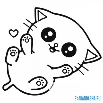 Print a coloring book cute kawaii kitten on A4