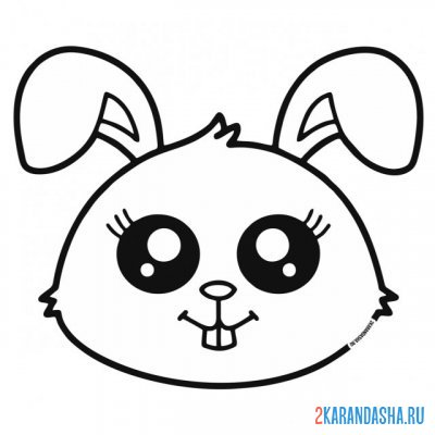Print a coloring book cute kawaii bunny on A4
