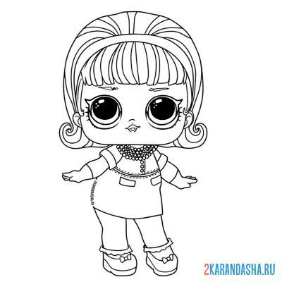 Print a coloring book doll lol queen madame (madame queen) on A4