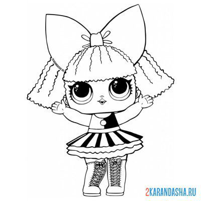 Print a coloring book lol surprise doll in a striped skirt (pranksta) on A4