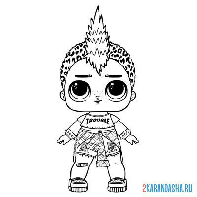 Print a coloring book doll lol punk boy (punk boy) on A4