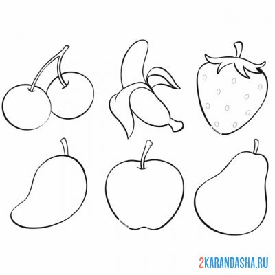 Print a coloring book banana, cherry, apple on A4