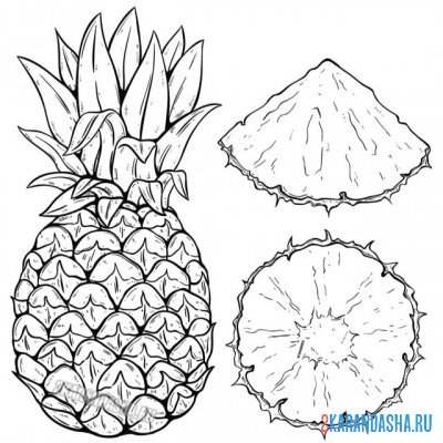 Print a coloring book juicy pineapple on A4