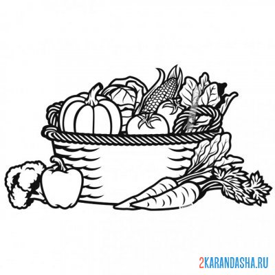 Print a coloring book basket with vegetables on A4