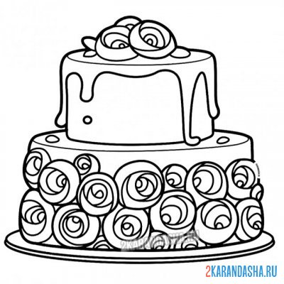 Print a coloring book big cake with flowers on A4