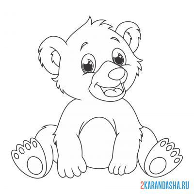 Print a coloring book teddy bear sits on A4