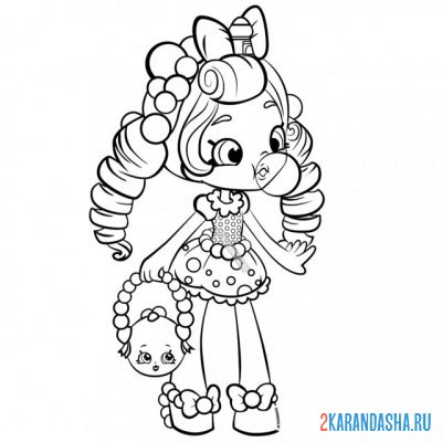 Print a coloring book cute doll on A4