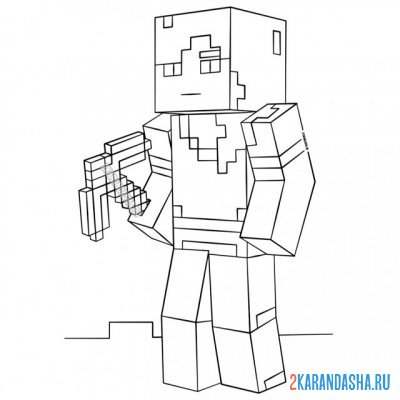Print a coloring book alex with a pickaxe on A4