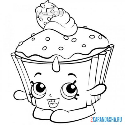 Print a coloring book sweet cupcake with eyes on A4