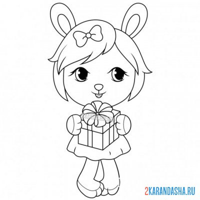 Print a coloring book cute bunny on A4