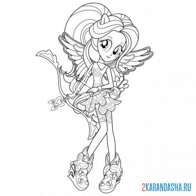 Print a coloring book equestria girls fluttershy on A4