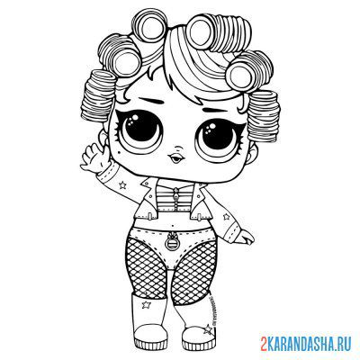 Print a coloring book doll lol dancer (go go queen) on A4