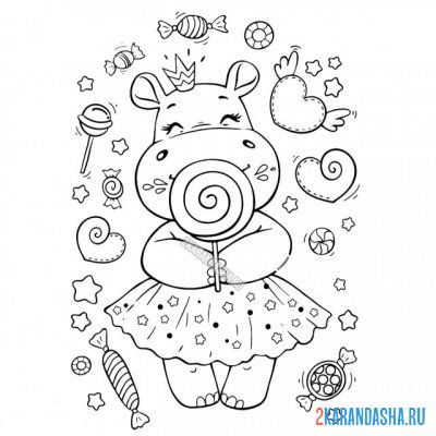 Print a coloring book cute hippo girl on A4