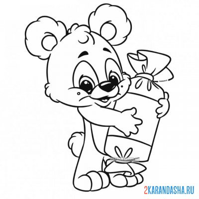 Print a coloring book teddy bear with candy on A4