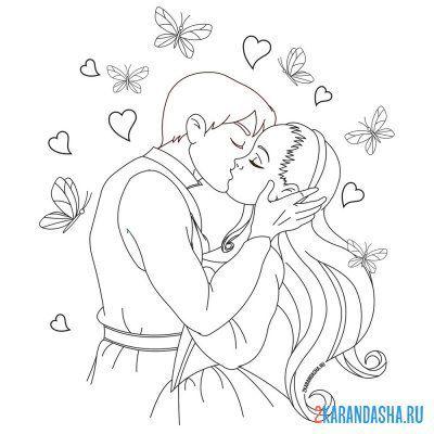 Раскраска милая принцесса для девочек распечатать
