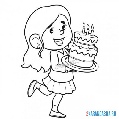 Print a coloring book girl with cake on A4