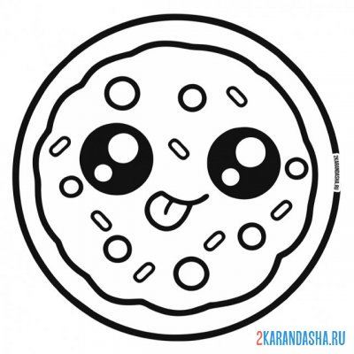 Print a coloring book delicious pizza with eyes. kawaii on A4