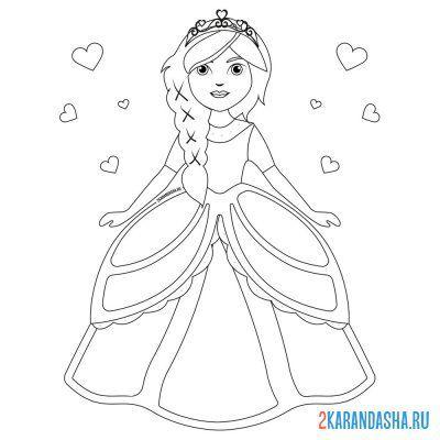 раскраски принцессы для девочек распечатать бесплатно