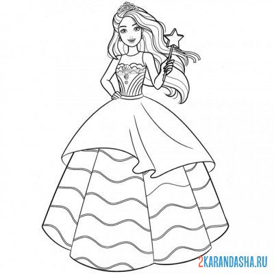Print a coloring book sorceress in a beautiful dress on A4