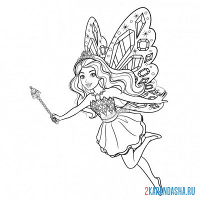 Print a coloring book barbie with a magic wand on A4