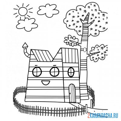 Print a coloring book family house on A4