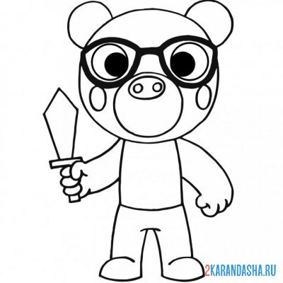 Print a coloring book piggy the bear on A4