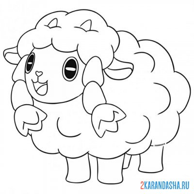 Print a coloring book wulu sheep on A4