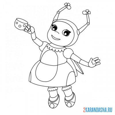 Print a coloring book ladybug mila with a cup on A4