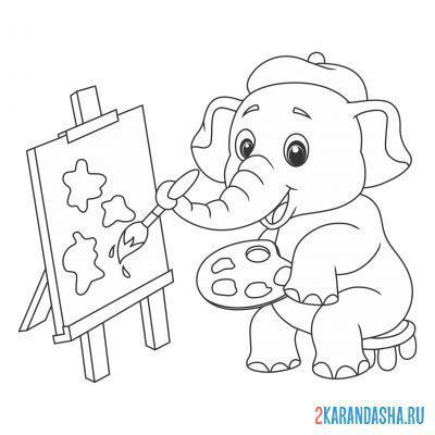 Print a coloring book elephant in the circus draws with a brush on A4
