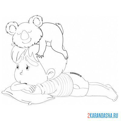Print a coloring book koala and a boy on A4