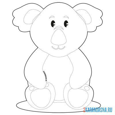 Print a coloring book koala sit on A4