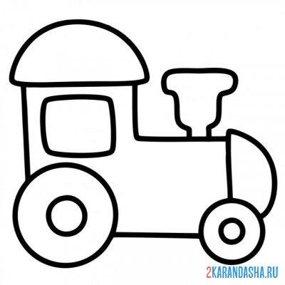 Распечатать раскраску паровозик простой на А4
