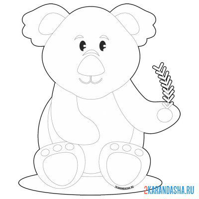 Print a coloring book koala with a twig on A4