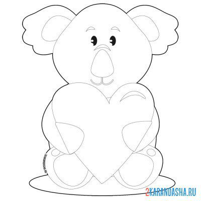 Print a coloring book koala with heart on A4