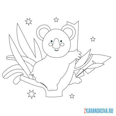 Print a coloring book koala on trees on A4