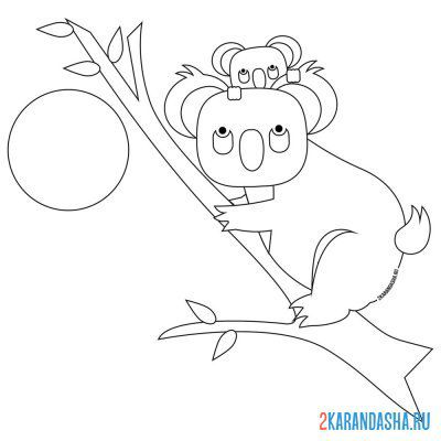 Print a coloring book koala with baby on the tree on A4
