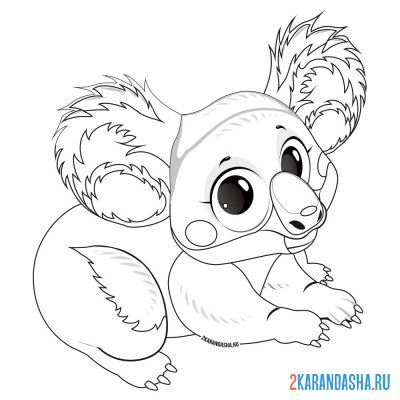 Print a coloring book lovely koala on A4
