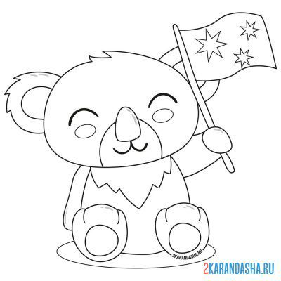 Print a coloring book koala with a flag on A4