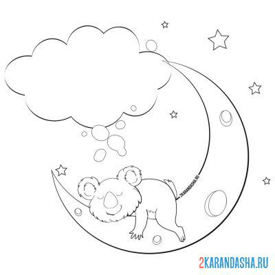 Print a coloring book koala sleeping on the moon on A4