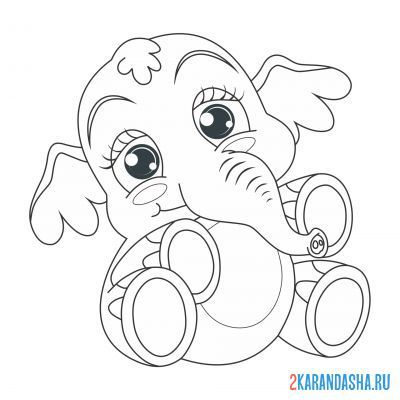 Print a coloring book eared elephant on A4