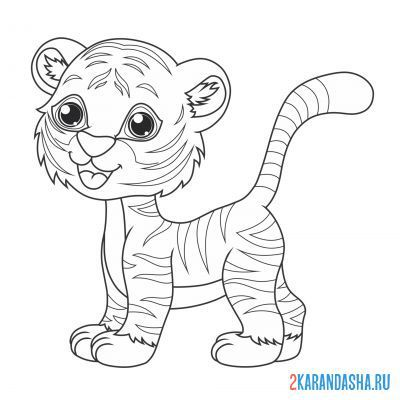 Print a coloring book funny tiger on A4