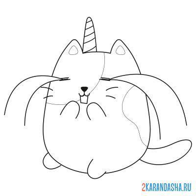 Раскраска кот, кошка и котята для детей распечатать