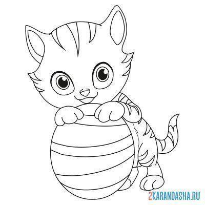 Раскраска кот-единорог распечатать бесплатно
