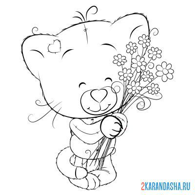 Print a coloring book kitten with flowers on A4